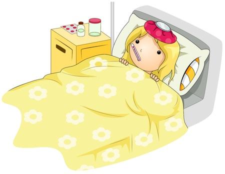 malade au lit: Illustration d'un Sick Girl