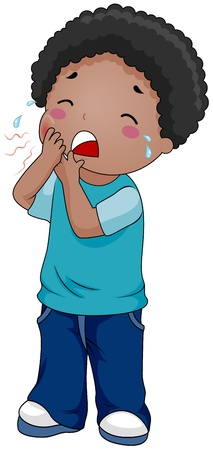 toothache: Illustration of a Boy Crying Because of a Toothache