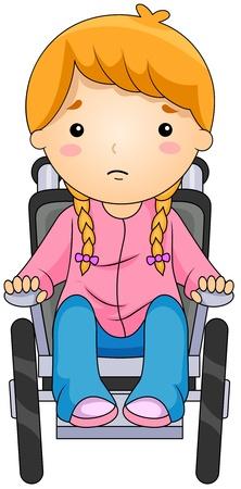 persona en silla de ruedas: Ilustraci�n de un ni�o en una silla de ruedas Foto de archivo