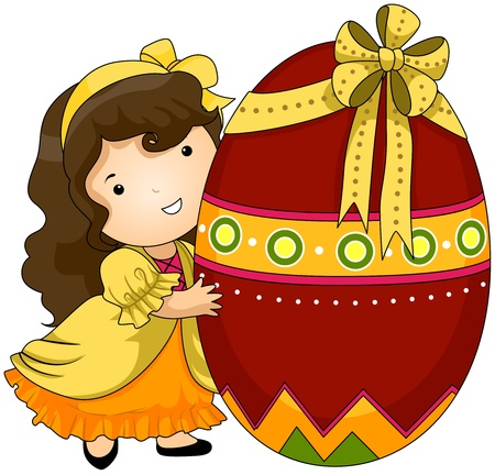 giant easter egg: Illustration of a Woman Hugging a Giant Easter Egg Stock Photo