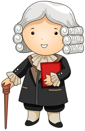 wig: Illustration of a Man Dressed as a French Judge Stock Photo