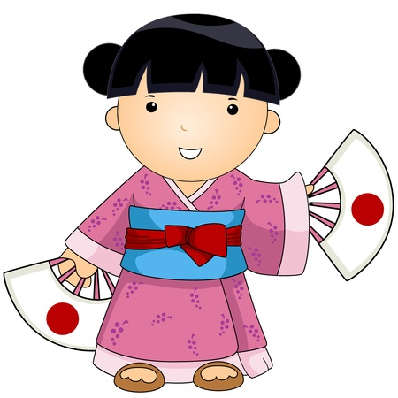 Illustration of a Woman Dressed in Japanese Costume illustration