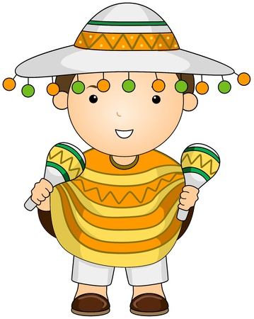 Illustration of a Man Dressed in a Mexican Costume illustration