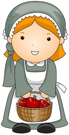 pilgrim costume: Illustration of a Woman Dressed in a Pilgrim Costume