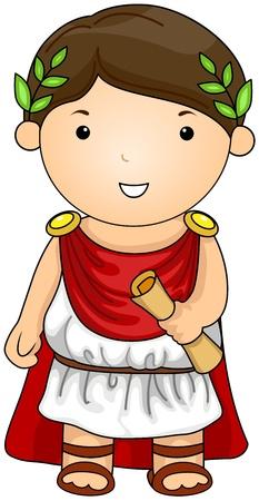 Ilustración de un hombre vestido con un traje de Romano
