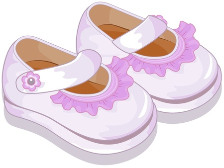 Illustration of a Pair of Baby Shoes for Girls illustration
