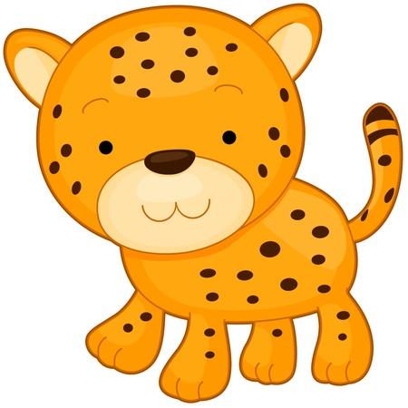 chita: Ilustración de un sonriente de Cheetah al senderismo Foto de archivo
