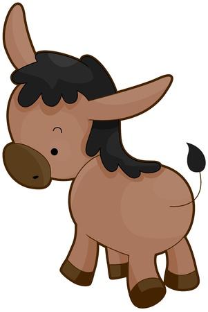 cartoon donkey: Illustration of a Donkey with its Back Turned
