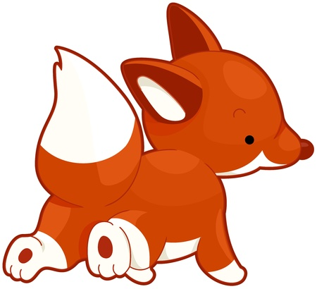 Illustration of a Red Fox Running While Looking Over its Shoulder illustration