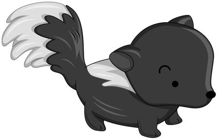 stink: Illustration of a Cute Skunk on all Fours