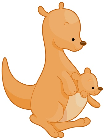 kangaroo mother: Illustration of a Mother Kangaroo with Her Baby on Her Pouch Stock Photo