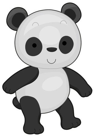 Illustration of a Cute Panda Flashing a Smile While Walking illustration