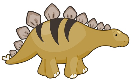 Illustration of a Fleshy Stegosaurus Smiling While Walking Stock Illustration - 8328974