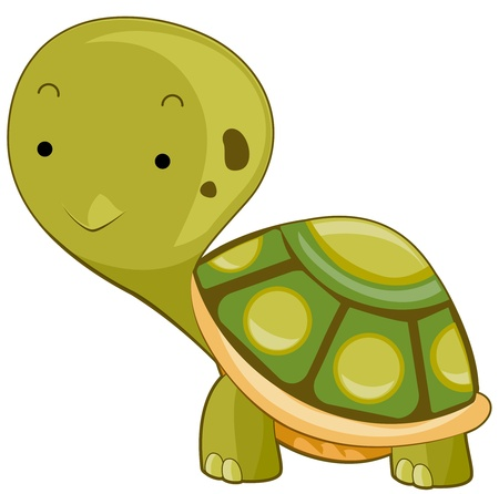Illustration of a Large Turtle Flashing a Smile While Walking  illustration
