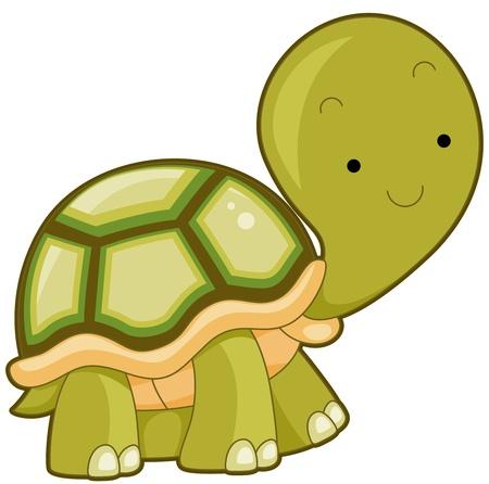 tortuga caricatura: Ilustraci�n de una gran tortuga grabar una sonrisa al senderismo