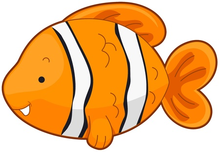 Illustration of a Cute Clownfish Swimming Around Stock Illustration - 8360838