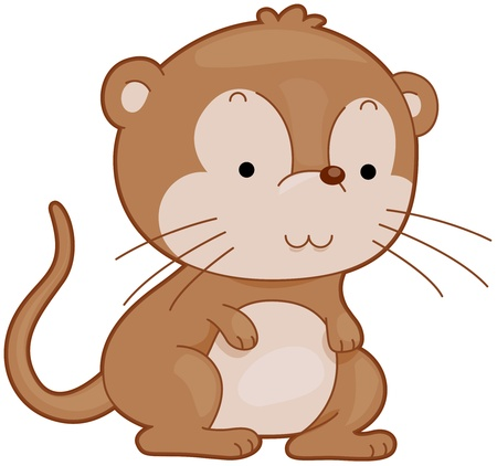 Illustration of a Cute Gerbil Smiling Contentedly