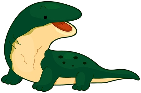toothless: Illustration of a Huge Komodo Dragon Flashing a Toothless Smile Stock Photo