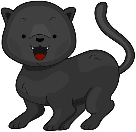 Illustration of a a Cute Panther Flashing a Toothy Grin illustration