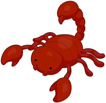 cartoon scorpion: Illustration of a Red Scorpion Searching for Food