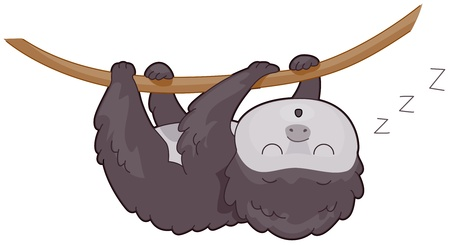 arboreal: Illustration of a Cute Sloth Sleeping Soundly Stock Photo