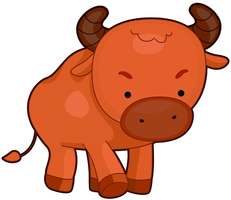 purposely: Illustration of a Cute Bull Walking Purposely Stock Photo