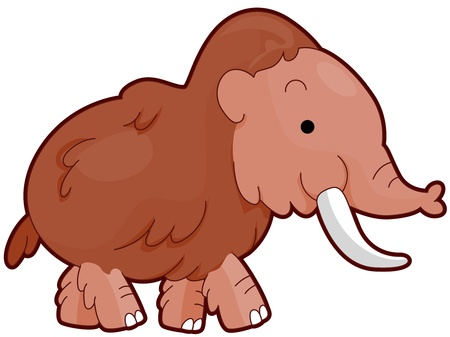 wooly: Illustration of a Wooly Mammoth Walking Casually Stock Photo