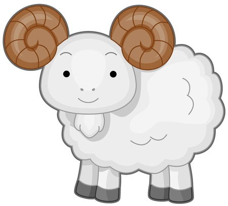 Illustration of a Wooly Ram Smiling Happily