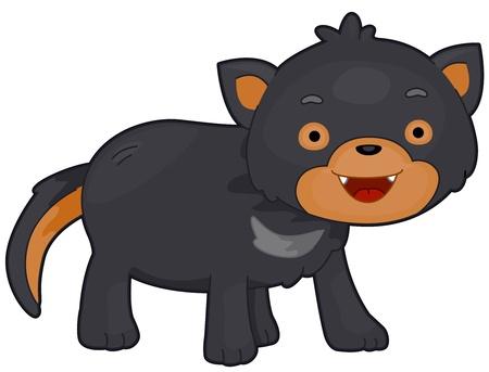 eyes wide open: Illustration of a Tasmanian Devil with Eyes Wide Open