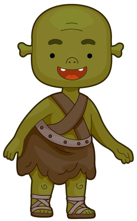 ogre: Illustration of an Ogre Flashing a Toothy Smile Stock Photo