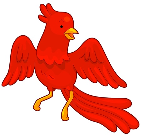 mythical phoenix bird: Illustration of a Red Phoenix in Flight Stock Photo