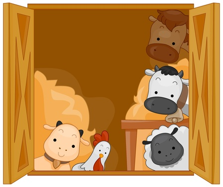 hay: Illustration of Cute Animals in a Barn Stock Photo
