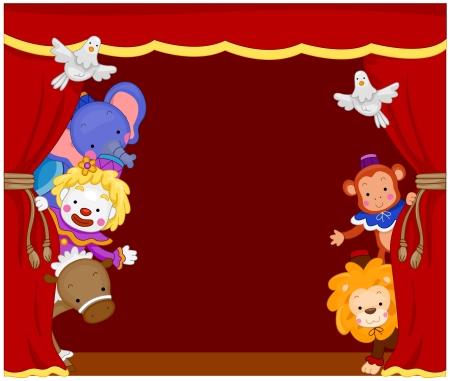 animales de circo: Ilustraci�n de Cute payasos de circo y de los animales en escenario