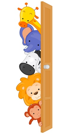 animal border: Illustration of Zoo Animals Peeping From Behind a Door Stock Photo