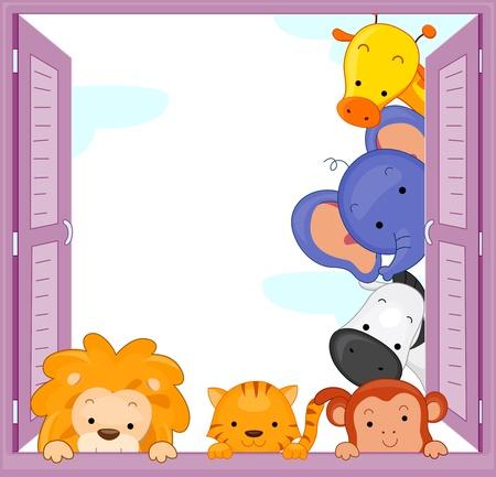 elefante cartoon: Ilustraci�n de animales de zool�gico Peeping en la ventana