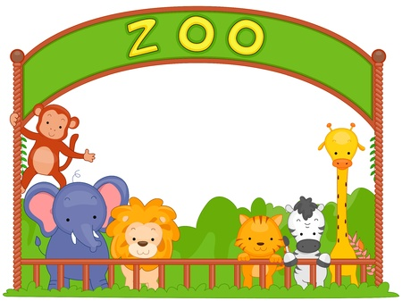 zoo cartoon: Illustration of Zoo Animals Leaning on the Fence