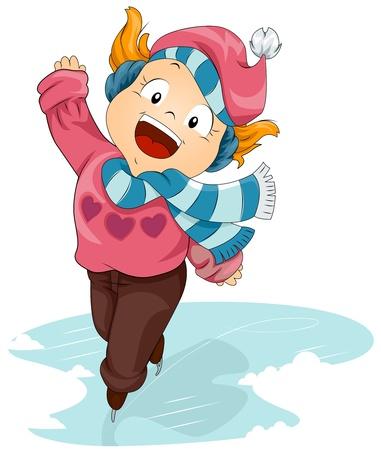Illustration of an Energetic Girl Skating on Ice illustration
