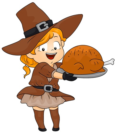 Illustration of a Little Girl Dressed in a Pilgrim Costume Holding a Platter of Turkey illustration
