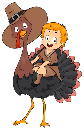 pilgrim costume: Illustration of a Turkey with a Boy Dressed in a Pilgrim Costume Sitting on His Back