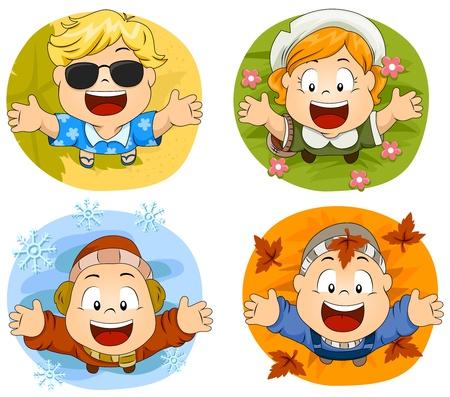 estaciones del a�o: Ilustraci�n de Cute Kids Little representaci�n de las cuatro estaciones Foto de archivo