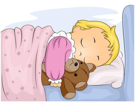 Illustration of a Cute Kid Hugging Her Stuffed Toy While Sleeping illustration