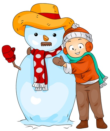 Illustration of a Little Boy Posing Next to a Snowman illustration