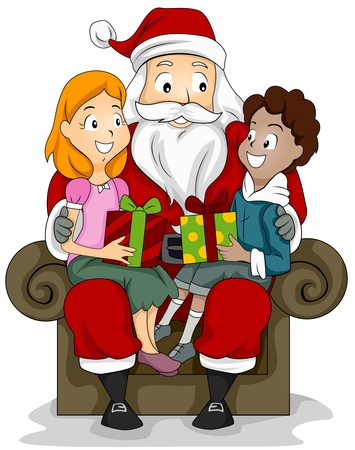 Illustration of a Boy and Girl Sitting on the Lap of a Man Dressed in a Santa Claus Costume illustration