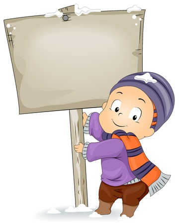 Illustration of a Kid Holding an Empty Sign Board illustration