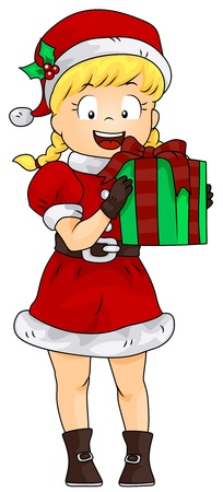 Illustration of a Girl Dressed in a Female Santa Claus Costume Carrying a Gift Stock Illustration - 8360833