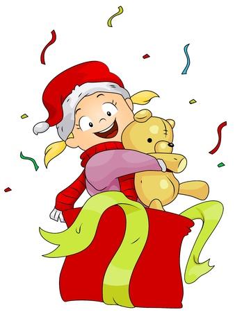 Illustration of a Kid Hugging the Present He Got illustration