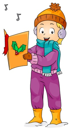 winter clothes: Illustration of a Boy Singing While Holding a Christmas Song Book Stock Photo