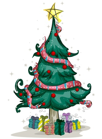 Sketched Christmas Tree Design against White Background Stock Photo - 8360920