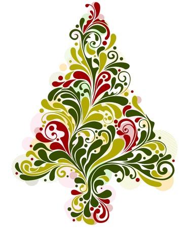 featuring: Christmas Design Featuring Random Swirls Shaped Like a Christmas Tree Stock Photo