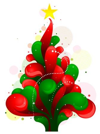 Christmas Design Featuring Random Swirls Shaped Like a Christmas Tree Stock Photo - 8360888